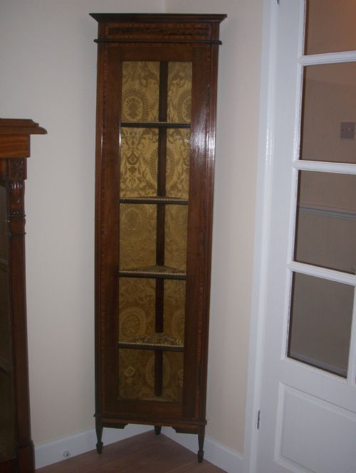 Attractive Edwardian Tall Slim Corner Cabinet