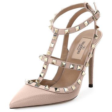 476e0af002b2 Rockstud Leather 100mm Pump by Valentino. Valentino calf leather pump with  signature Rockstud trim. Available in multiple colors. 4