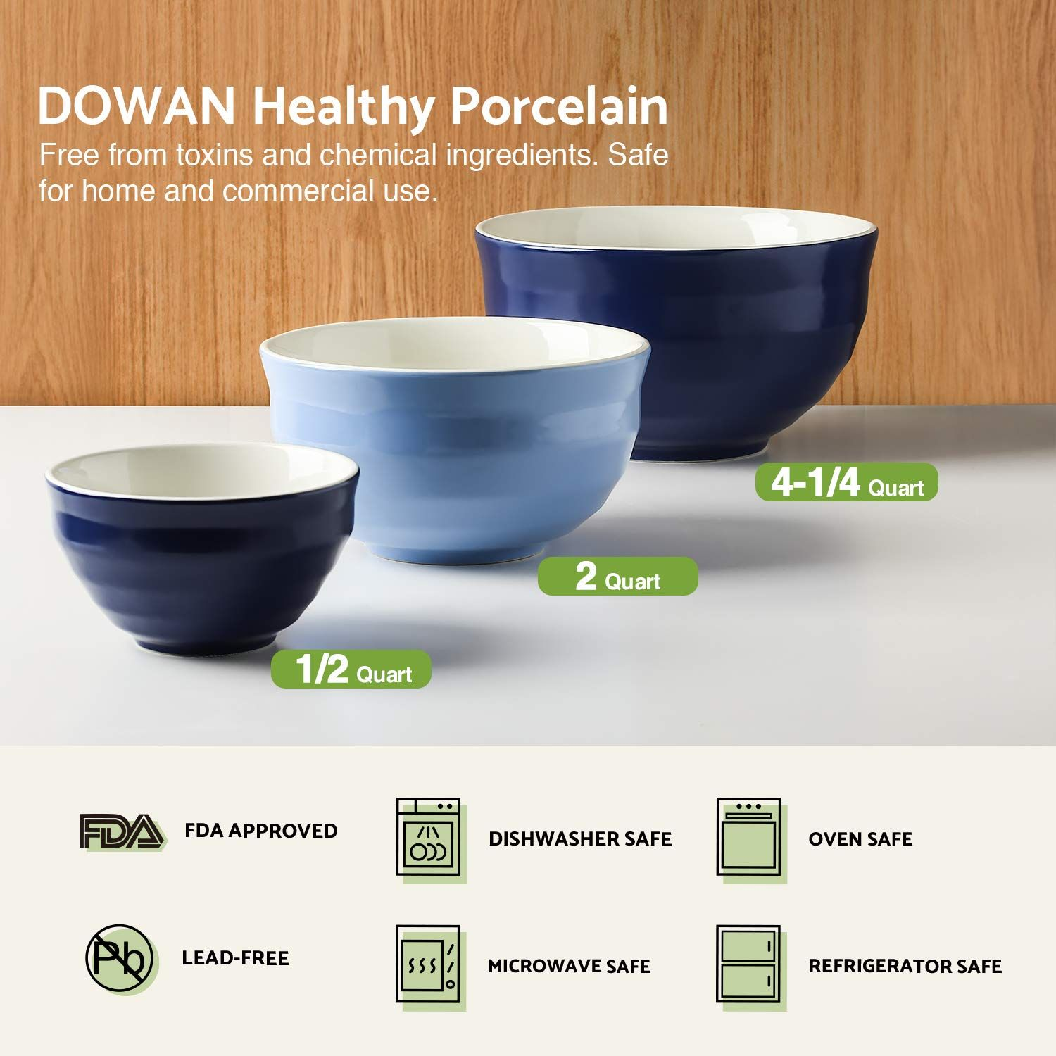 Dowan Ceramic Mixing Bowls Serving Bowl Set Nonslip Soft Curve On The Outside Design Of The Bowls 0 5 Qt 2 Mixing Bowls Ceramic Mixing Bowls Serving Bowl Set