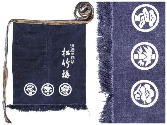 Apron Japanese Vintage Maekake. Indigo Blue White by FurugiStar