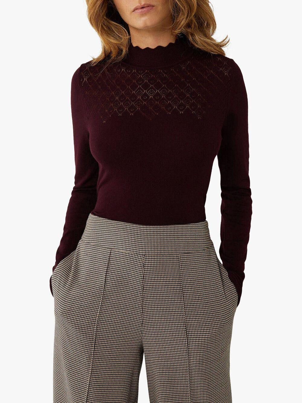 Nbsp Textured Sleeves Pointelle Sweater Knitwear Women