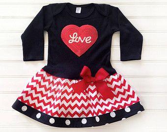 Girls Valentines Dress Valentine Baby Toddlers Girls Outfit Love Dress Chevron Outfit Baby Toddlers 6 9 12 18 24 Months Girls 2 3 4 5 6 8
