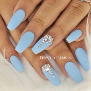 Image Result For Baby Blue Silver Nails Diamond Nails