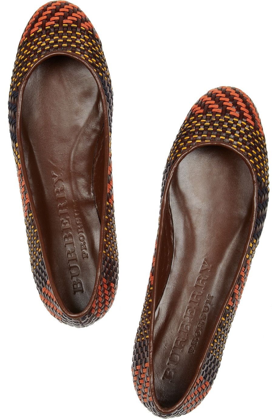 f9034b69973 ~ Living a Beautiful Life ~ Burberry Prorsum Woven Leather and Raffia Ballet  Flats in Multicolor (brown)