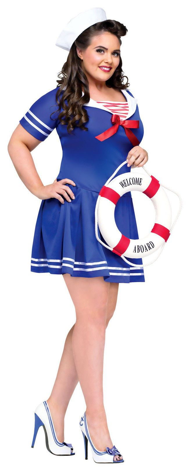 Details about Nautical Doll Adult Costume | Plus size ...