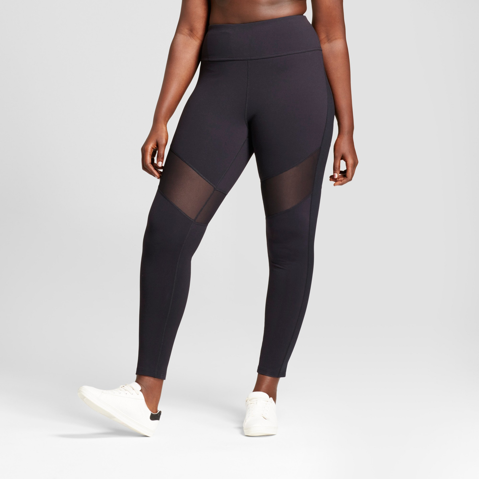 8a7035e9446 Plus Size Women s Plus Premium High Waist Mesh Leggings - JoyLab Black 1X