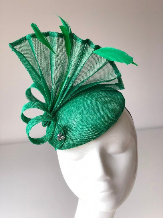 Emerald Green Fascinator Green Fascinators green wedding hats ladies day headwear race day headpiece fascinators for weddings green hats