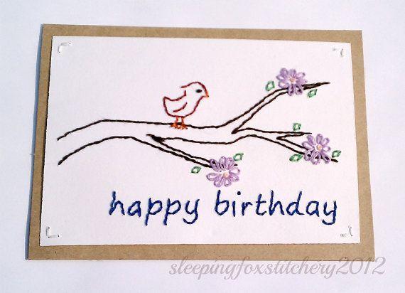 Hand Embroidered Birthday Card Red Bird on by sleepingfoxstitchery,