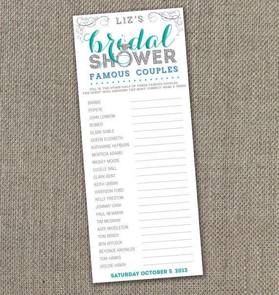 Bling Bridal Shower. Famous Couples DIY. Modern Bridal Shower Invite. Sparkle Bridal Shower.