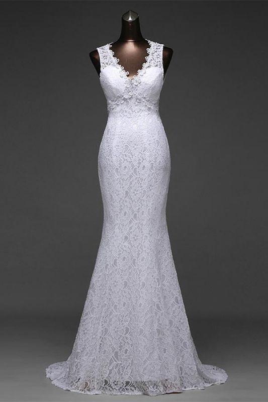 Floor_Length V_neck backless mermaid Wedding Dresses