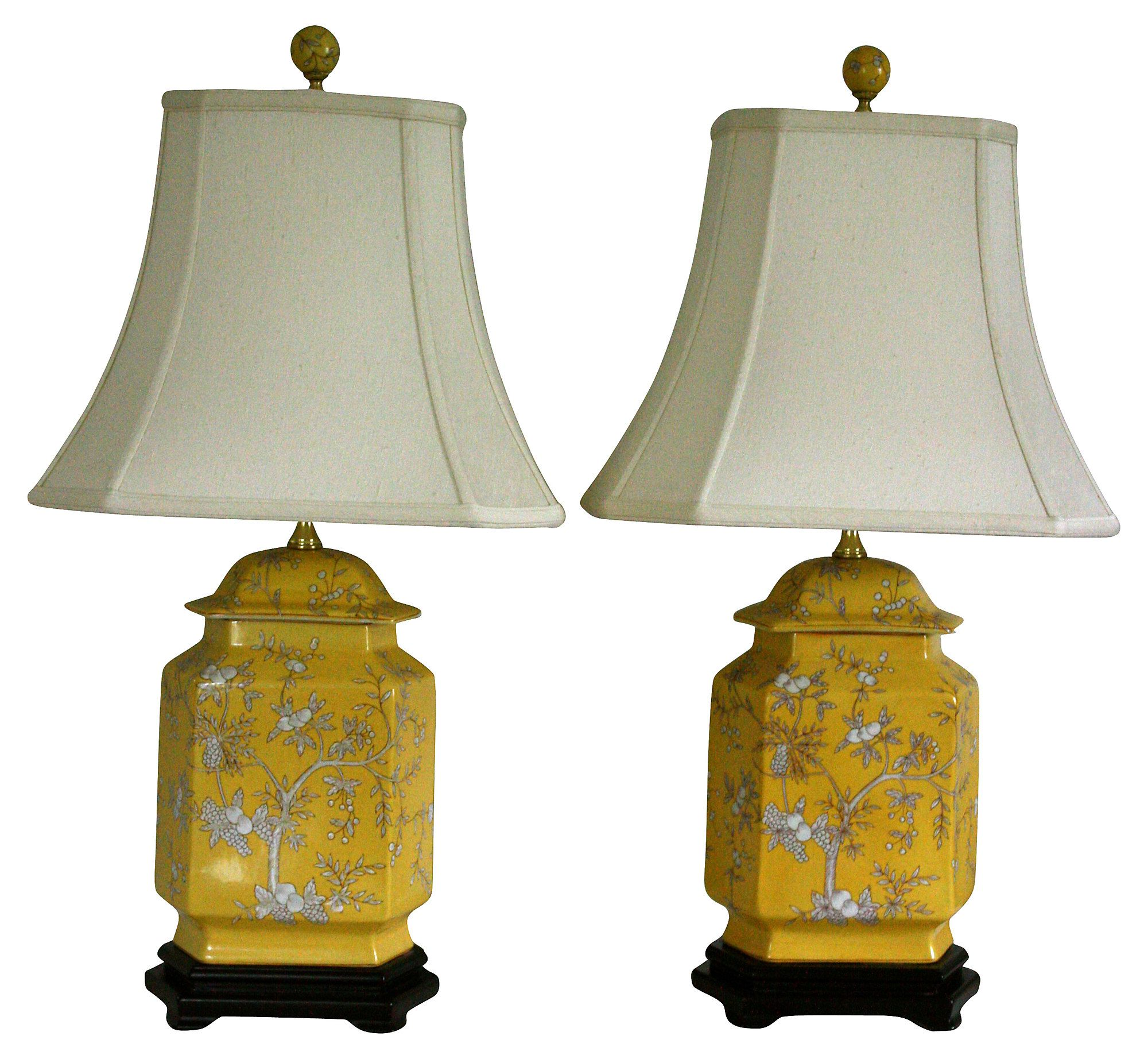 Yellow chinoiserie lamps pair one kings lane chinoiserie yellow chinoiserie lamps pair one kings lane arubaitofo Choice Image