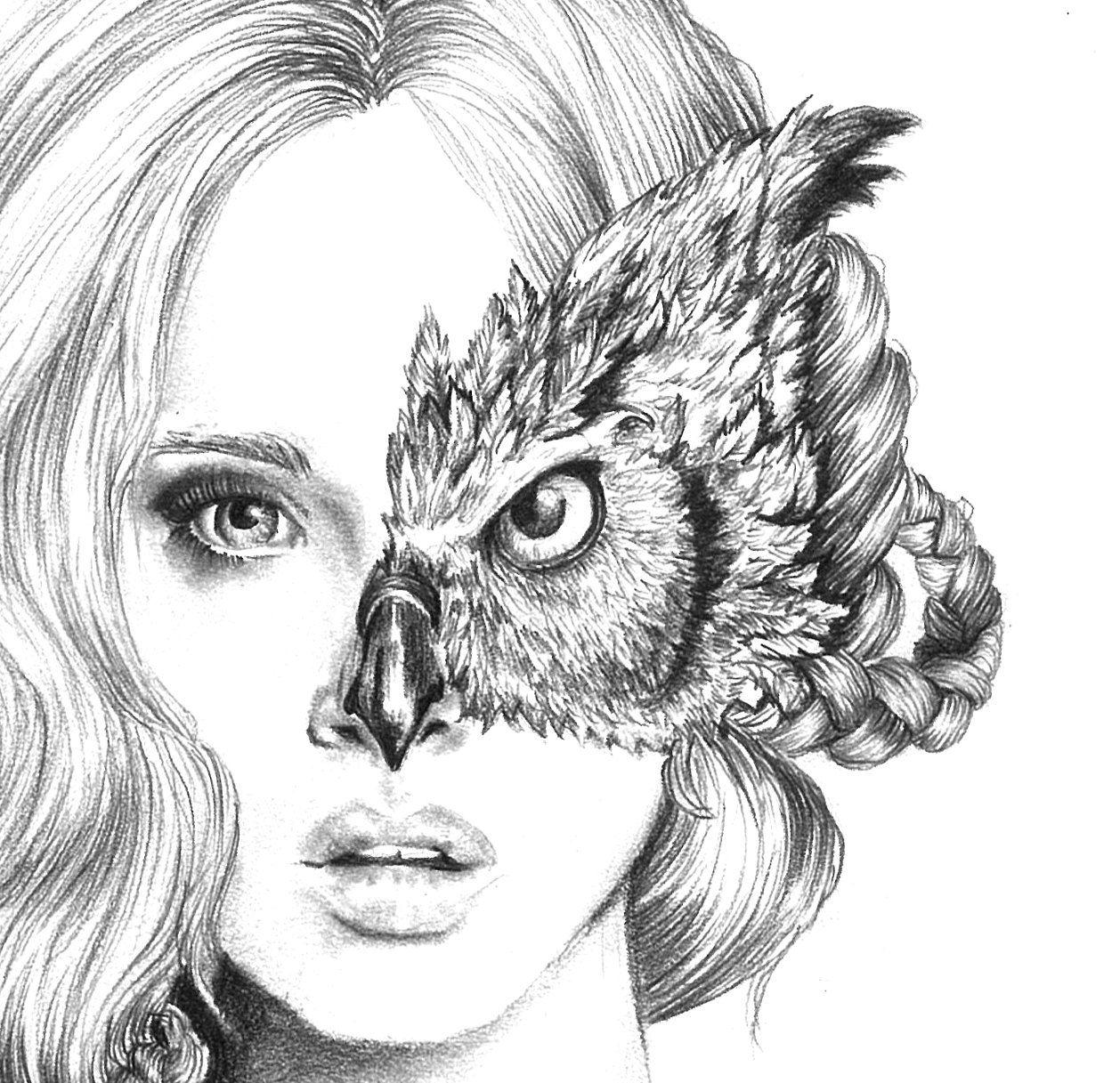 Iris - illustration- Owl mask- Black and white- 8X10 ... - photo#40