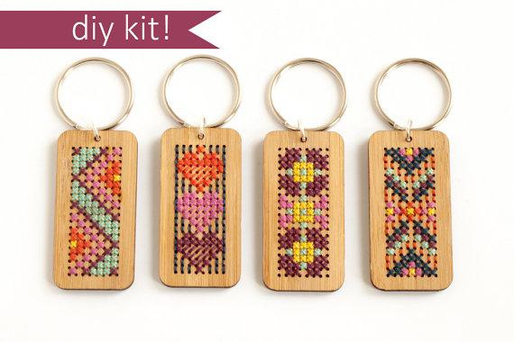 Cross Stitch Kit Stitched Wood Key Ring Diy Kit Modern Cross Stitch Key Chain Kit Modern Cross Stitch Cross Stitch Diy Kits