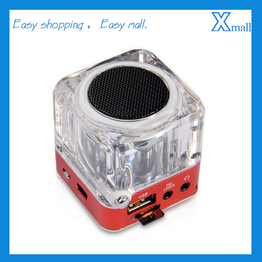 TT-029 Crystal Acrylic LED Card Speakers Small Portable Stereo ...
