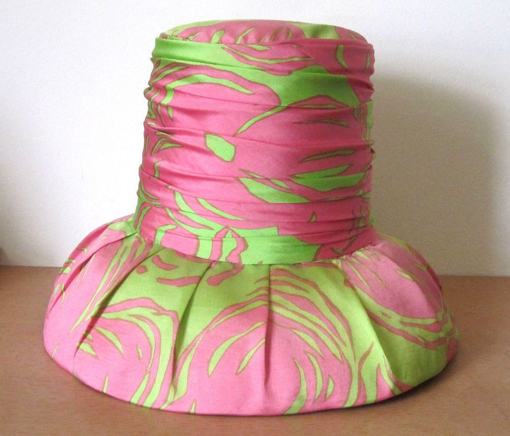 FABULOUS *BALESTRA ROMA* VINTAGE 1960s AUDREY HEPBURN STYLE GREEN PINK HAT…
