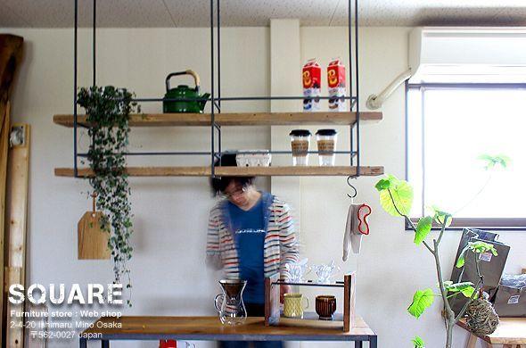 アイアン ハンギング 吊下げ 天井取付 棚 シェルフ ラック Diyの家の装飾 リビング キッチン 吊り棚