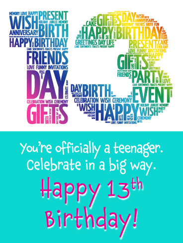 Colorful 13th Birthday Card Birthday Greeting Cards By Davia Birthday Greeting Cards Happy 13th Birthday Birthday Party For Teens