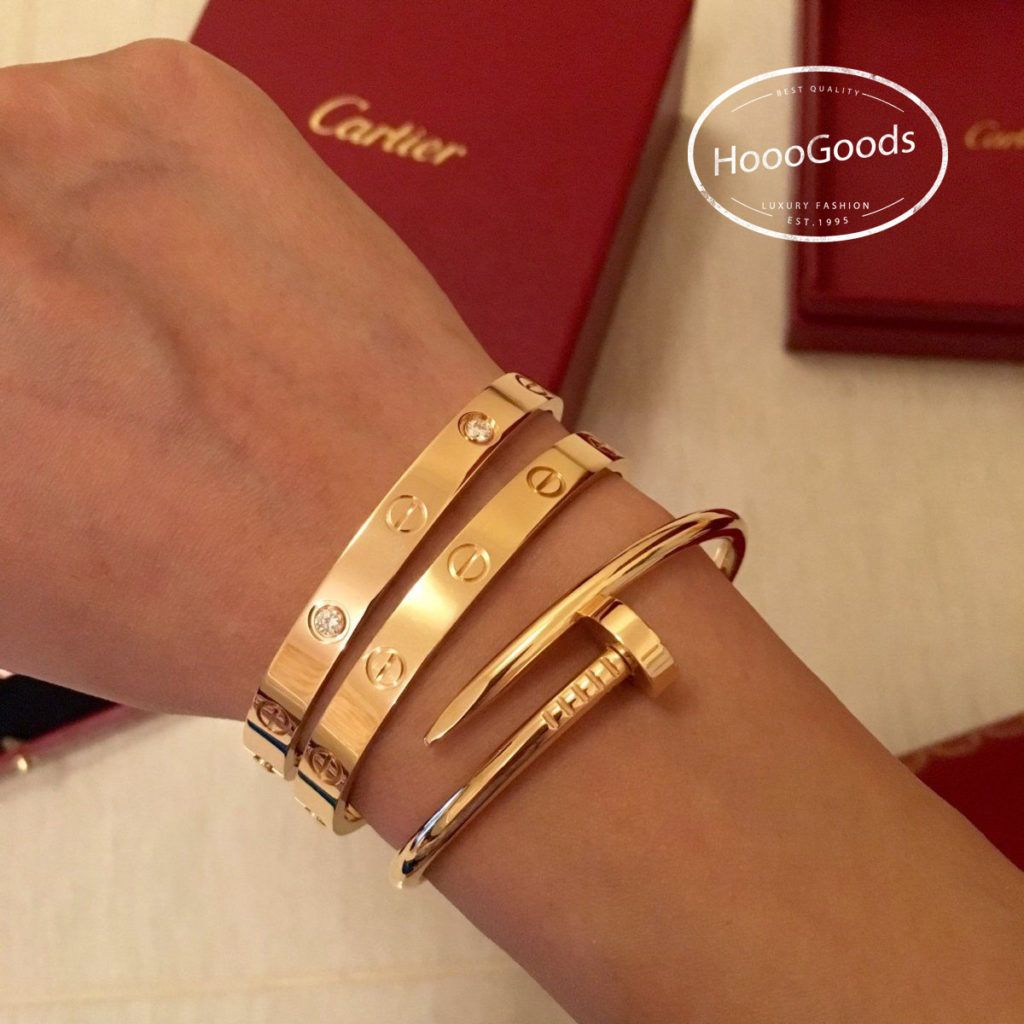 Bracelets Stacking: Cartier Love bracelet and juste un clou bracelet - HoooGoods