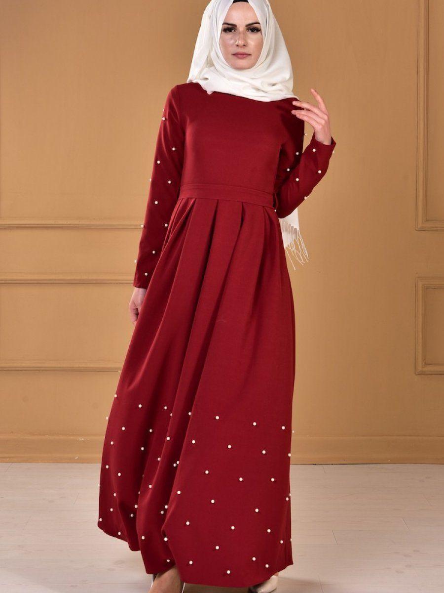 138e0d249589e Sefamerve İnci Detaylı Tesettür Elbise Modelleri | Tesettür | Elbise ...