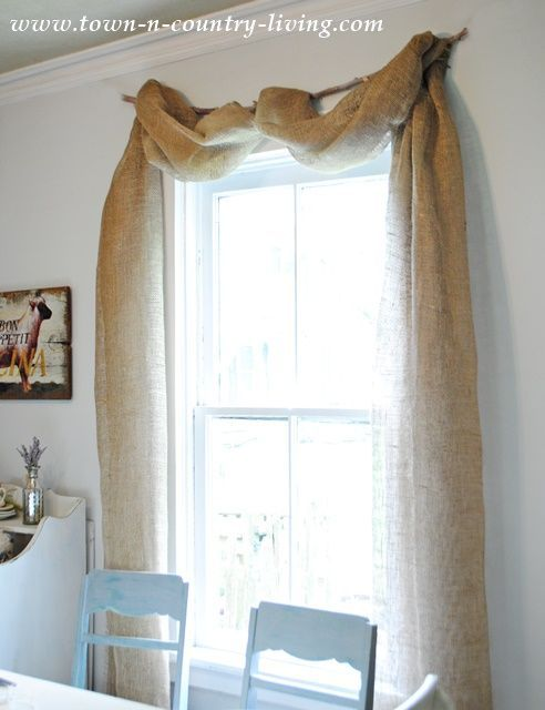 Antique Booth Ideas Burlap Window Scarves