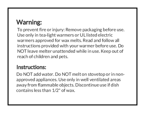 caution warning labels for wax melts consumersafety. Black Bedroom Furniture Sets. Home Design Ideas