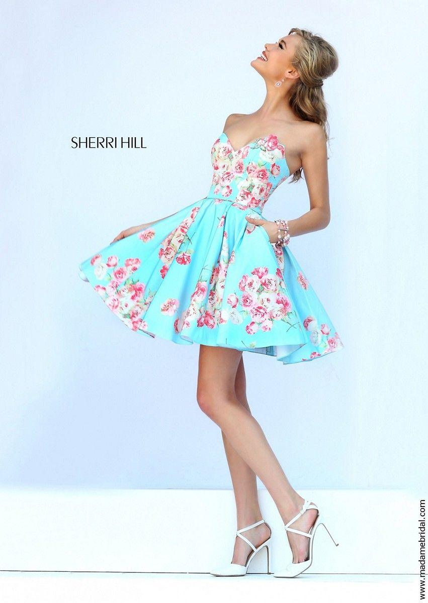 48d1d39c638 Sherri Hill 32246 Strapless Sweetheart Neckline Side Pocket Floral Print -  A Line
