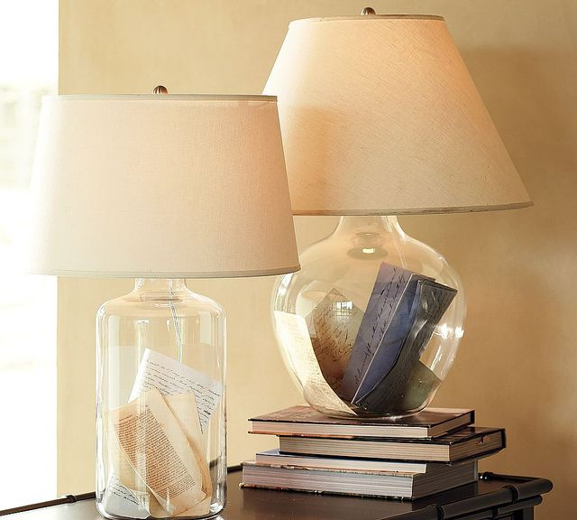 Bacchus glass table bedside lamp modern table lamps by pottery barn