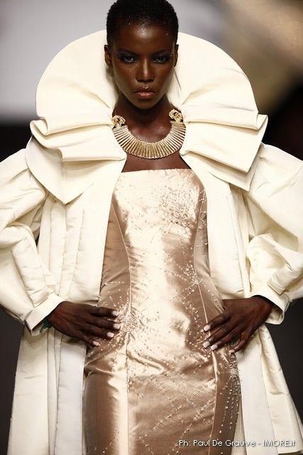 84370f83ea868 Cream Evening Coat and Metallic dress by Gattinoni. A twist on Elizabethan  style ruff collar.