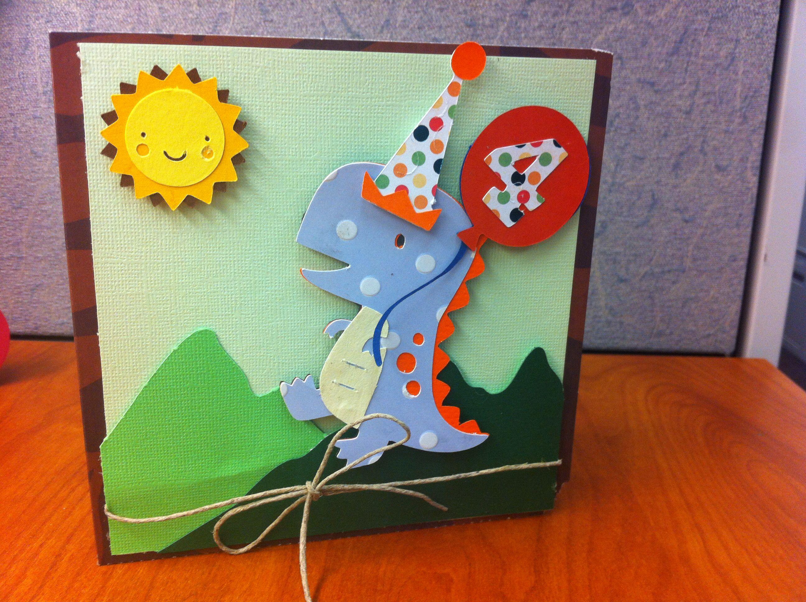 Create A Critter And Dinosaur Tracks Birthday Card Dinosaur Cards Birthday Cards Diy Cards Handmade