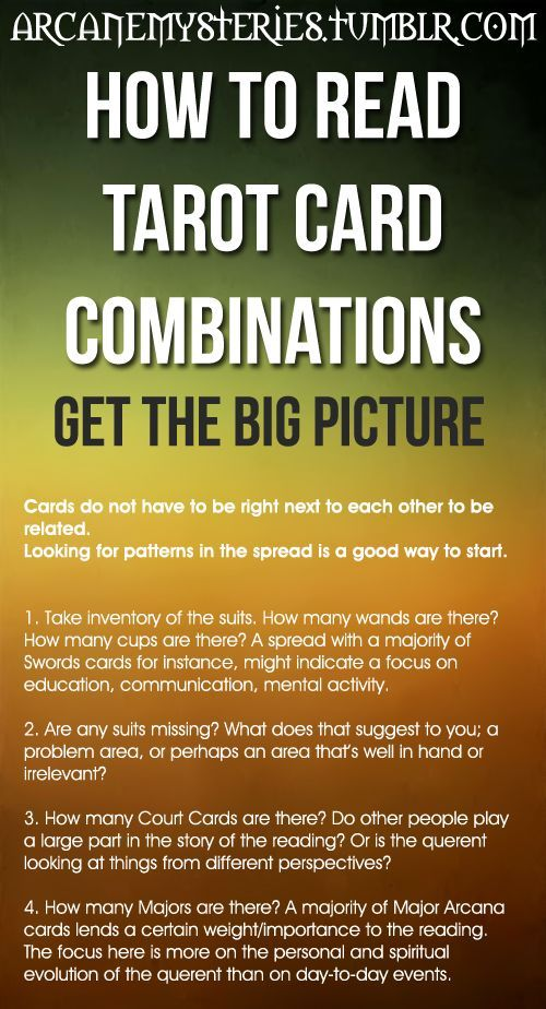 How To Read Tarot Card Combinations  | TAROT WORLD | Tarot, Tarot