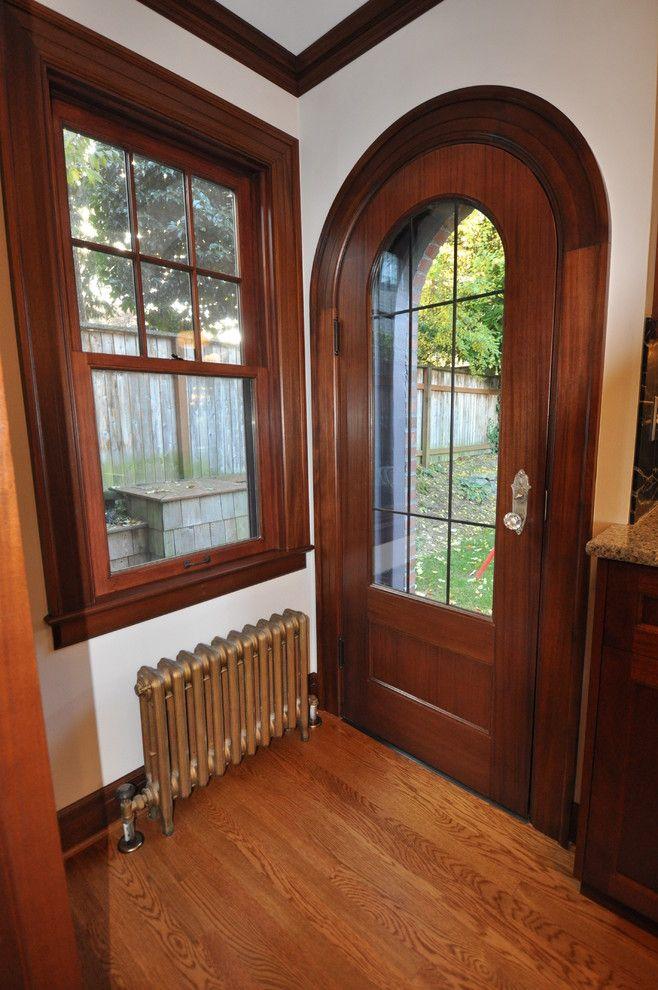 Wood door headboard entry traditional with lead glass door dark