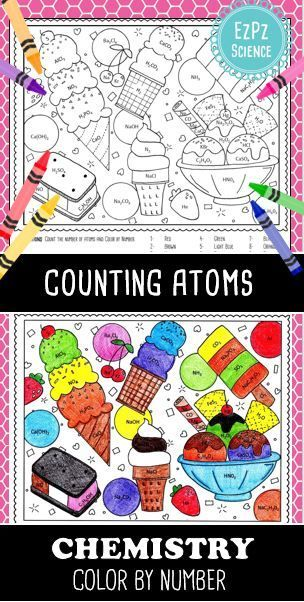 counting atoms chemistry color by number ice cream - Chemistry Coloring Book