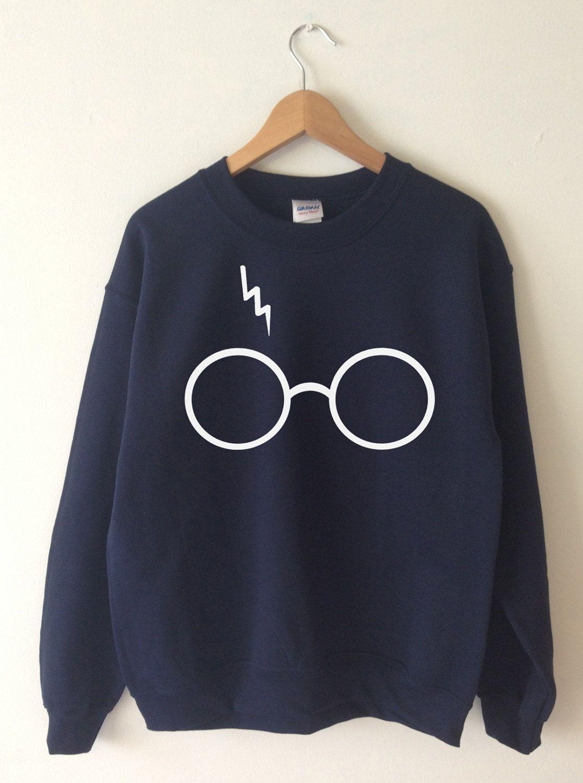 H. POTTER Unisex Crewneck Pullover Sweatshirt Black & Gold PnAiKQ