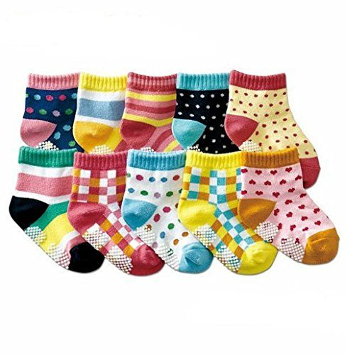Amazon Com Dimore Cotton Non Skid Baby Socks High Quality Baby Socks Gift Set 10 Pack Bright Colored Socks Kid Soc Baby Boy Socks Baby Socks Kids Socks