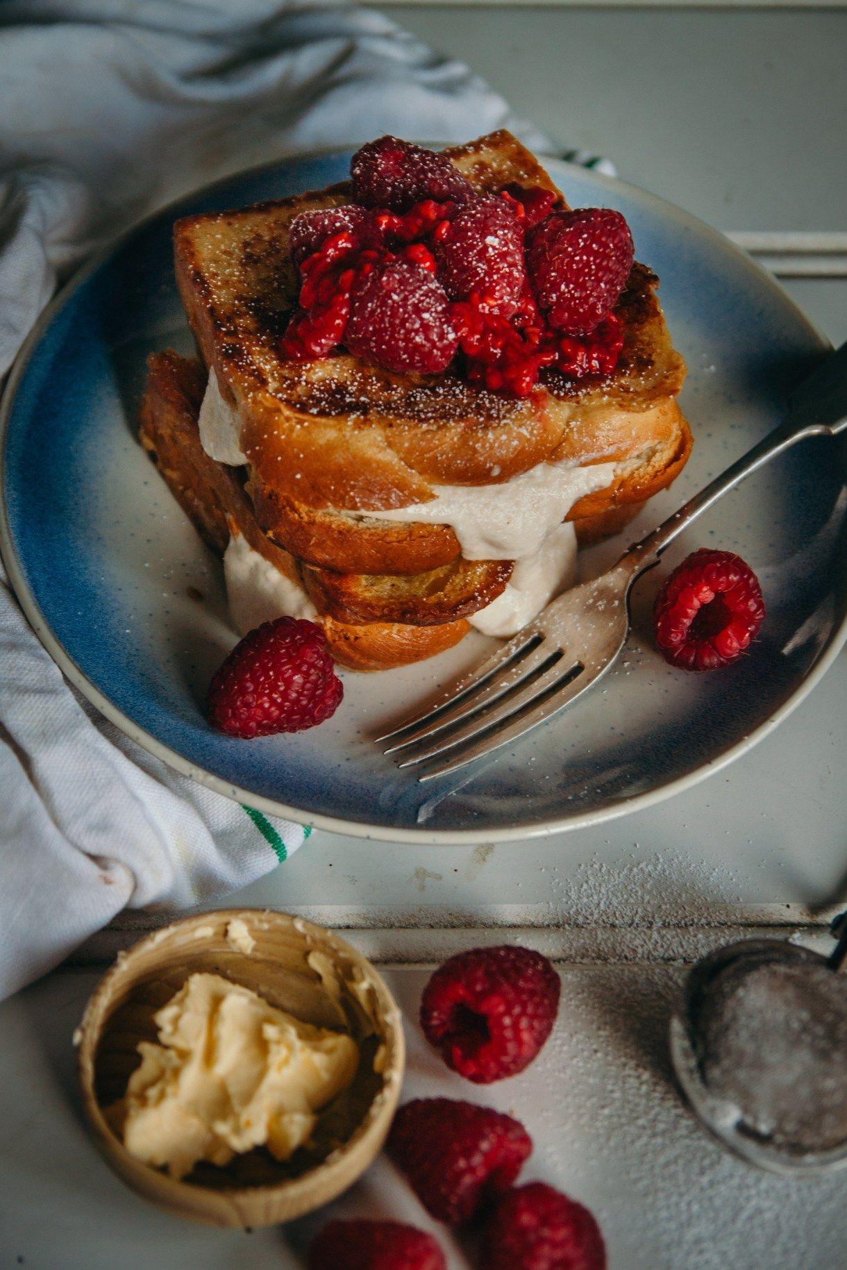Photo of Stuffed Vegan French Toast – Cashew Cream and Raspberries