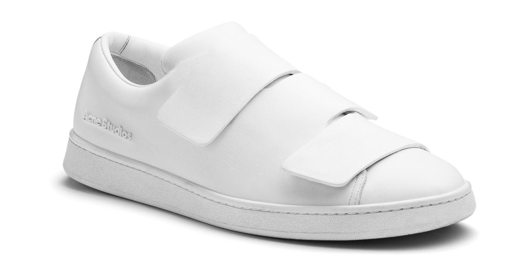 white velcro tennis shoes