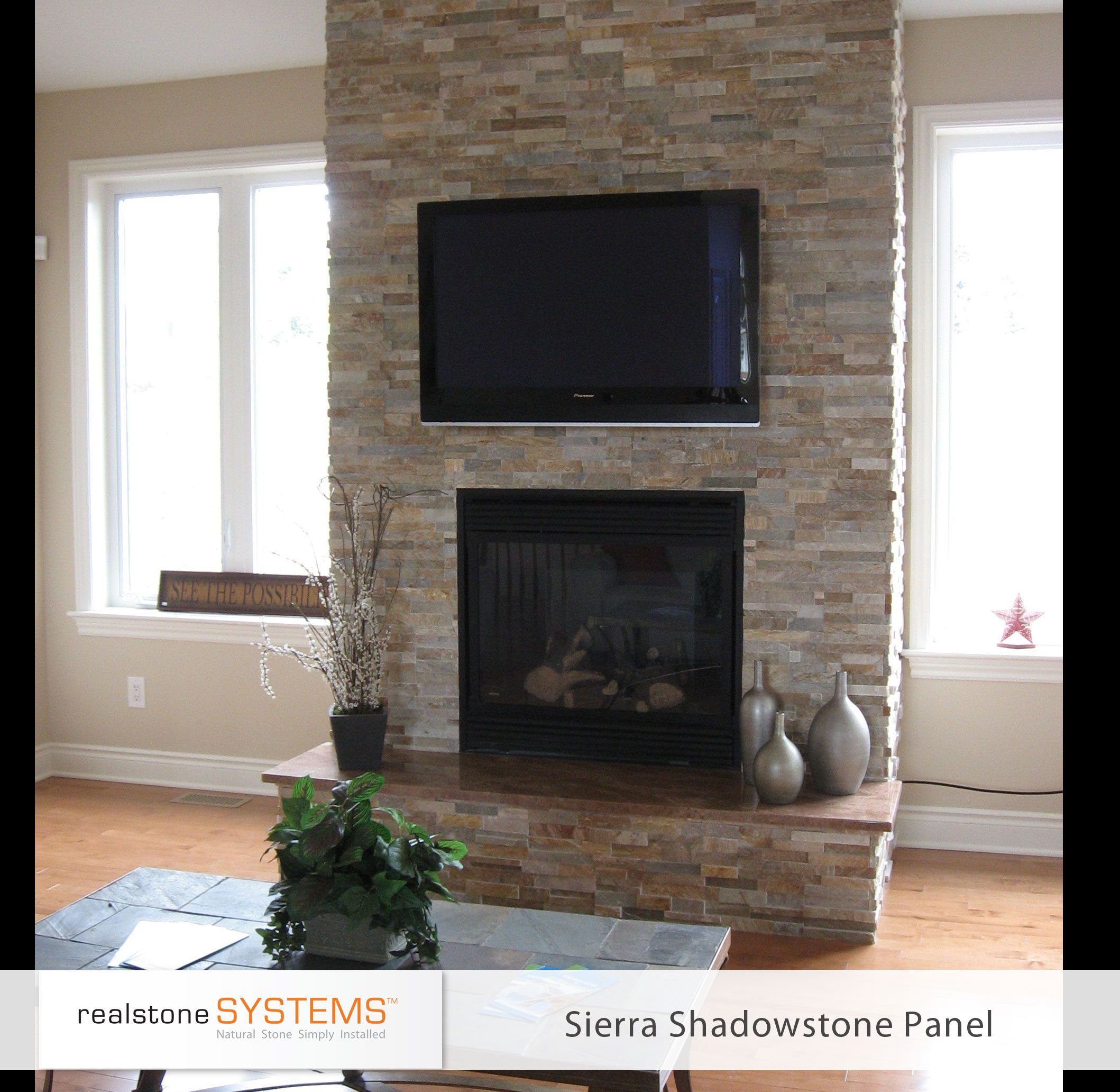 Similar to our end game raised hearth beige stone thin for Fireplace no mantle