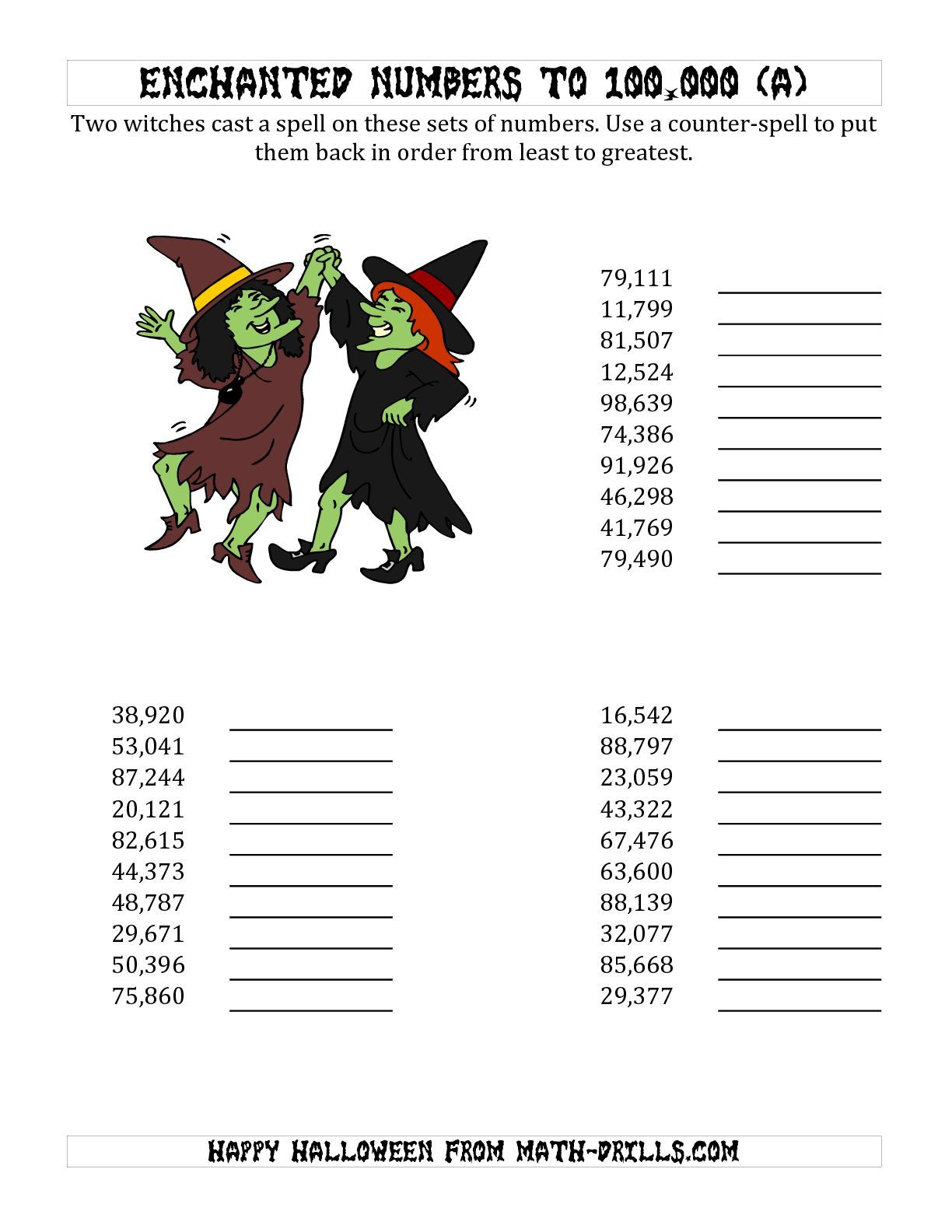 The Ordering Halloween Witches Enchanted Numbers To