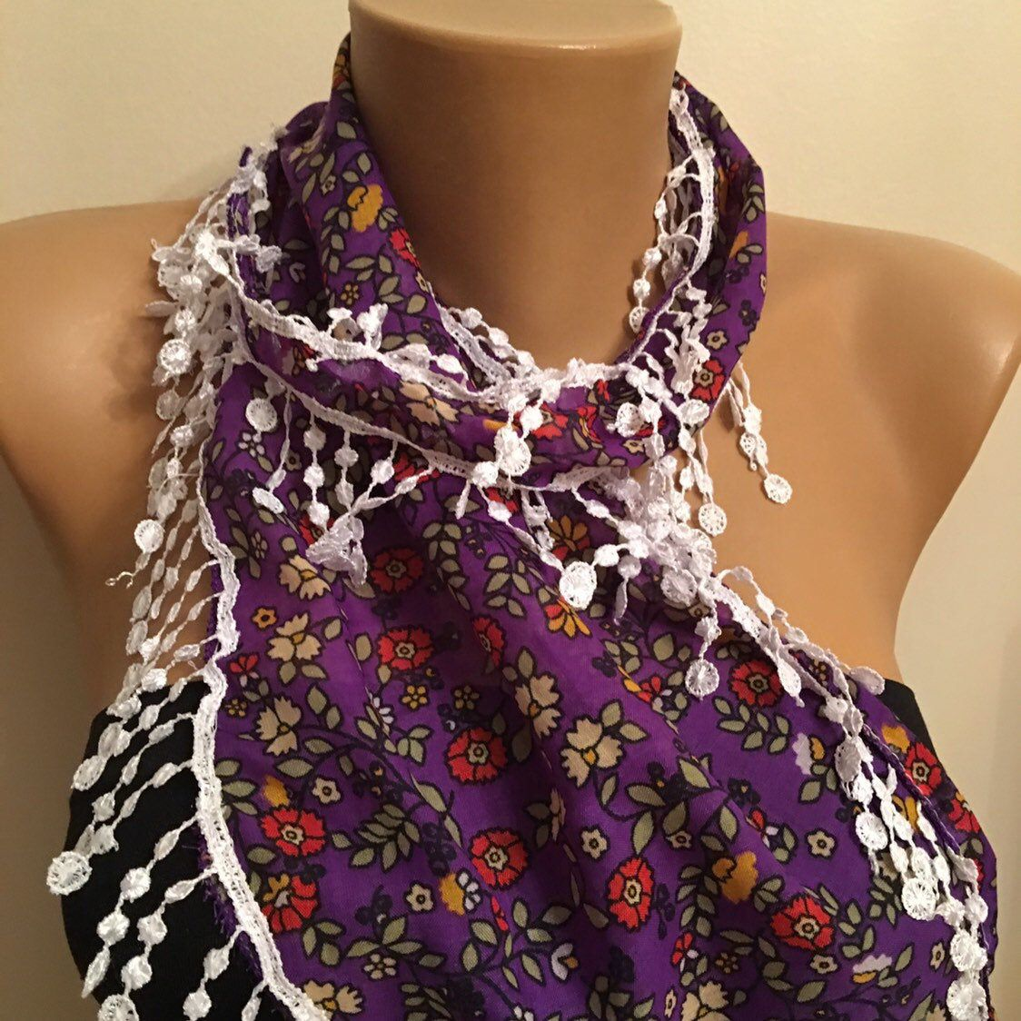 Purple Floral Scarf, Lace Scarf, Women's Fashion, Gift for