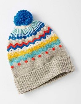 06e39fcf12cf5 Grey Marl Fair Isle Lambswool Bobble Hat Boden