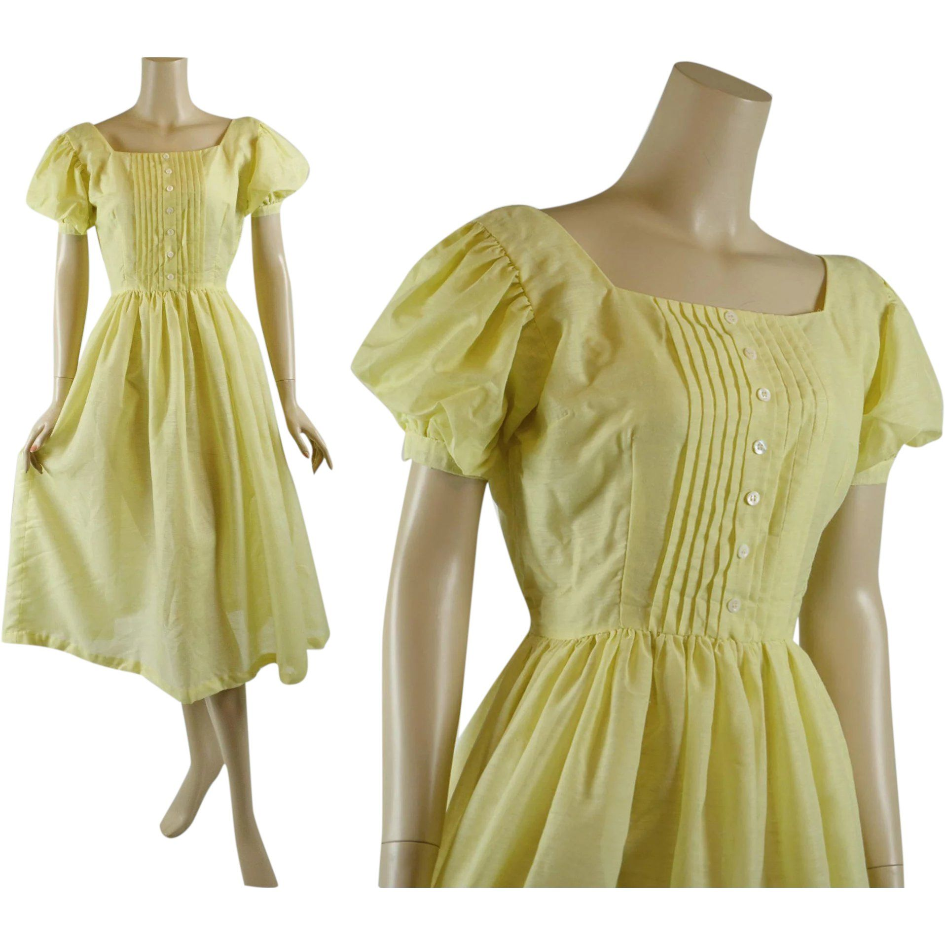1950s 1960s Vintage Dress Bright Yellow Full Skirt Organdy With Puff Sleeves B38 W27 In 2020 Vintage Dresses 1960s 1960s Dresses Yellow Dress Summer