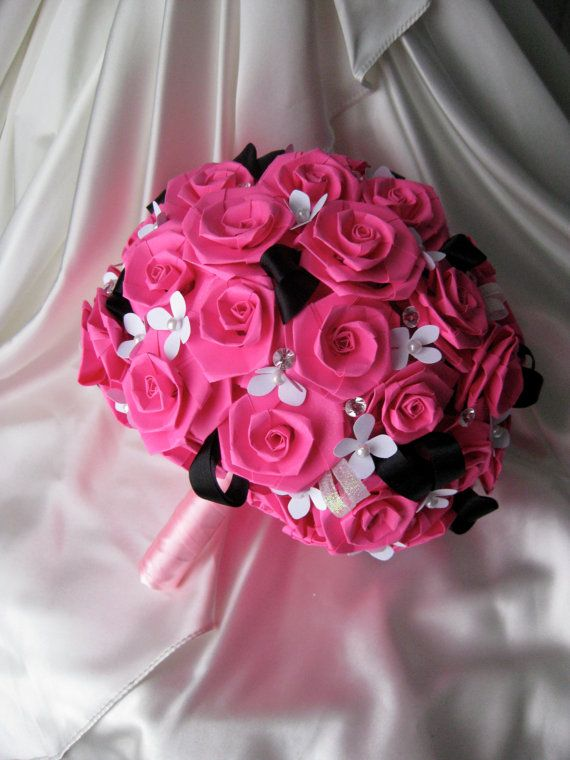 Hot Pink Black Paper Rose Bouquet By Kivero On Etsy 175 00