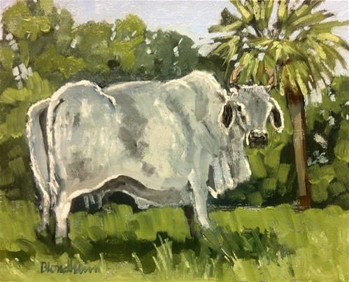 "Daily Paintworks - ""Brahman Cow"" - Original Fine Art for Sale - © Linda Blondheim"