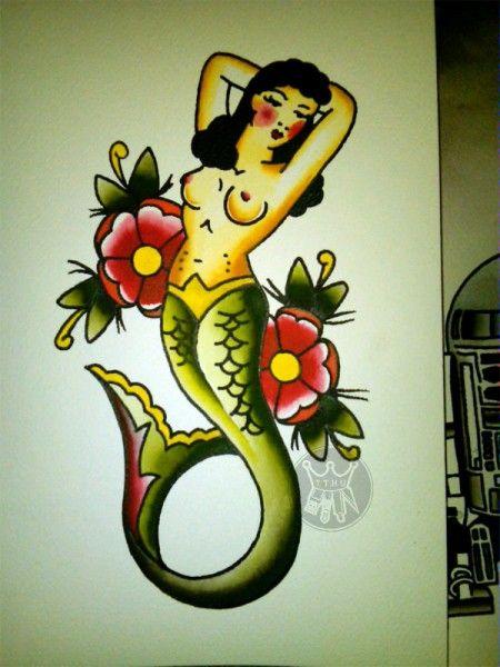 Mermaid Americana Traditional Mermaid Tattoos Traditional