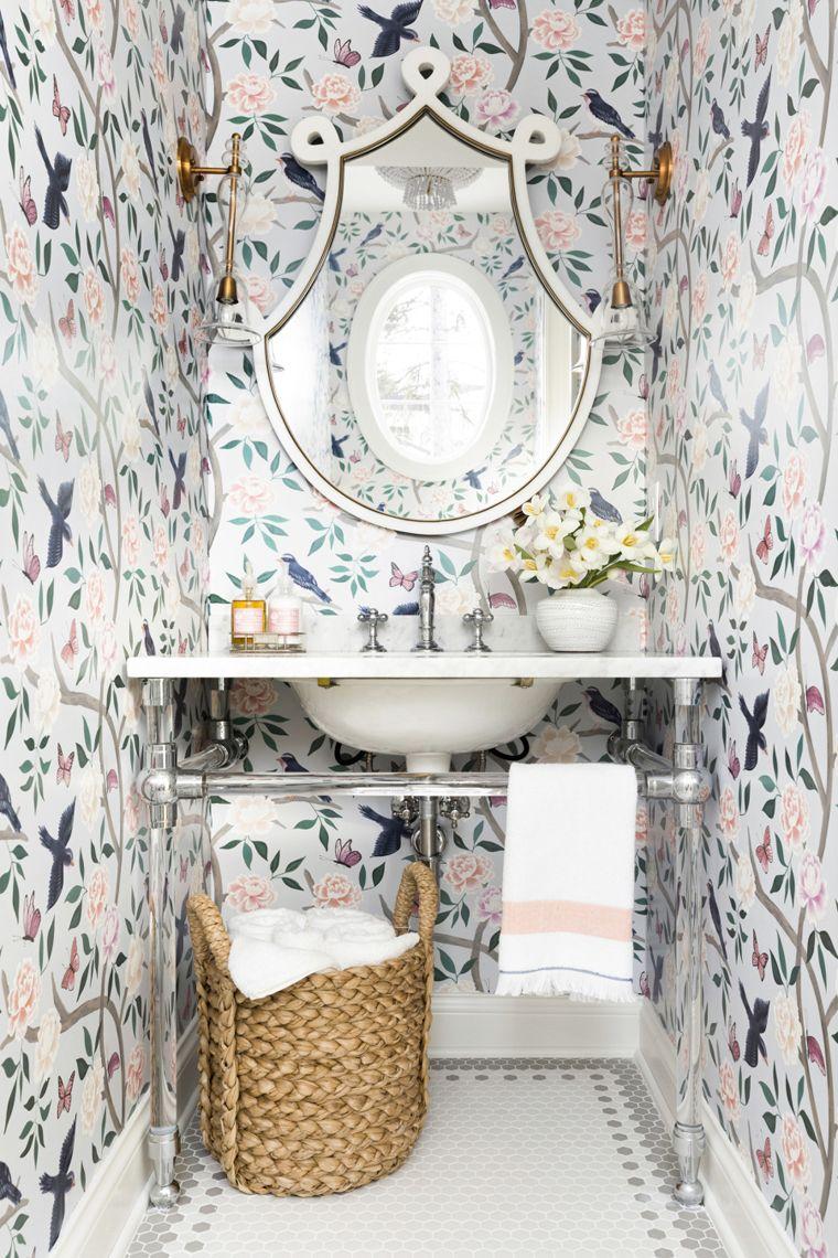 Bria Hammel Interiors Chinoiserie Wallpaper Bathroom Colorful Interiors Bathroom Design Trends Fashionable style bathroom wallpaper