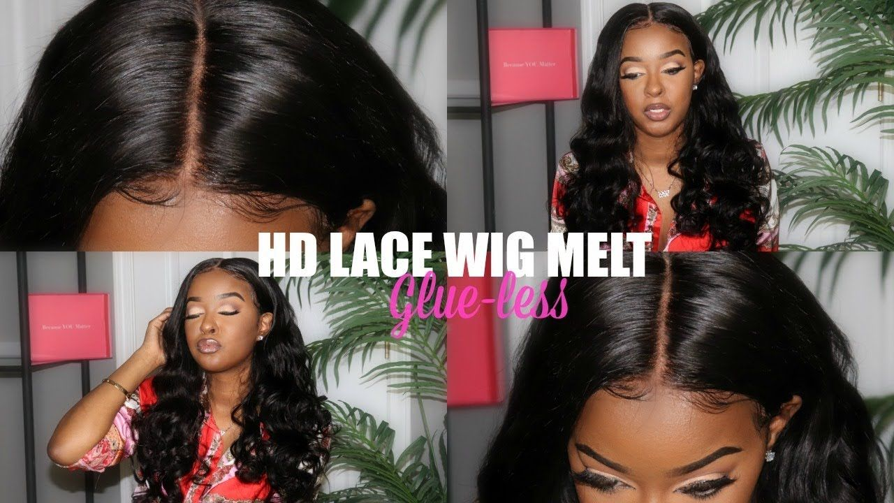 Hd skin melt lace frontal with no glue wig install