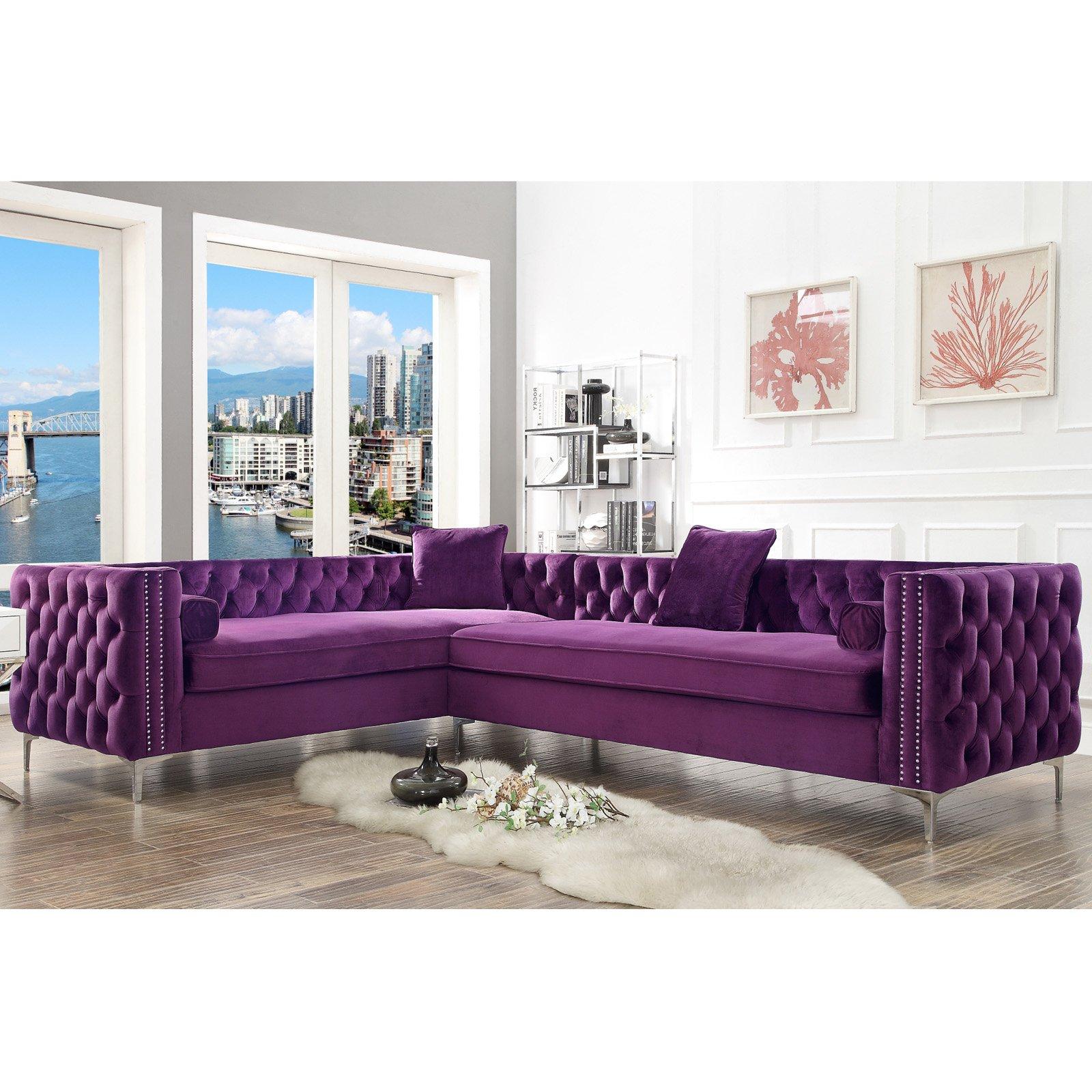 Remarkable Inspired Home Richard Corner Sectional Sofa Purple Ncnpc Chair Design For Home Ncnpcorg