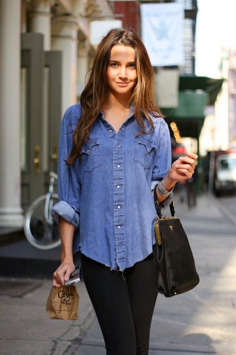 86636d660 blue jean shirt - Click image to find more Women's Fashion Pinterest pins  Blue Shirt With