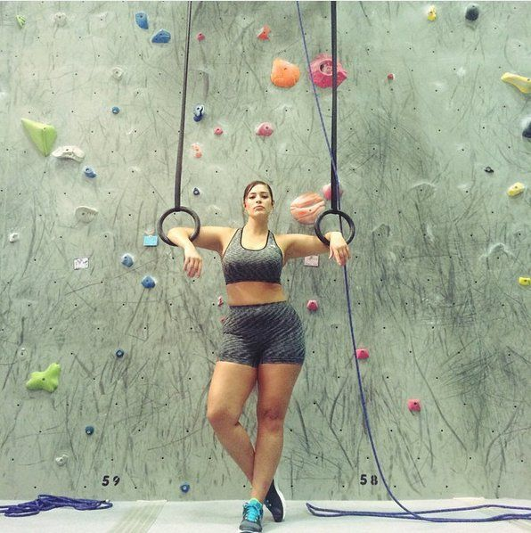 """Pin for Later: Model Ashley Graham's Intense Workouts Are Not For the Weak Rock Climber """"This is definitely going to hurt tomorrow!"""" she said of her rock-climbing experience."""