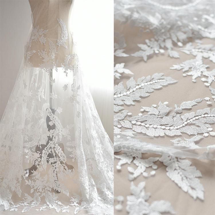 Off White Bridal Lace Fabric With Fl Embroidery Luxury Gown Wedding